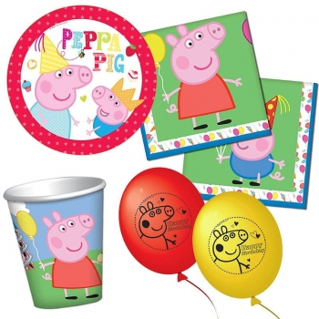 PEPPA PIG - Party Set 42-teilig (mit Teller, Becher, Serviette, Luftballon)