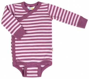 JOHA - Wickel-Langarm-Body DOUBLE STRIPE aus Merinowolle in aubergine