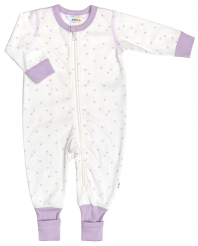 JOHA - Overall Organic Cotton MINI STAR in weiss-flieder