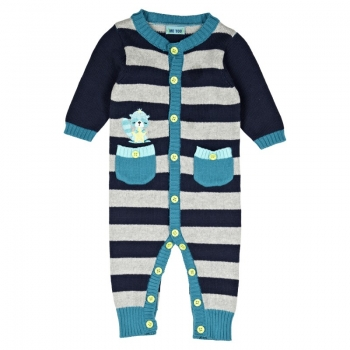 ME TOO - Strick-Overall ISOLD BABY BOY in blau-grau gestreift