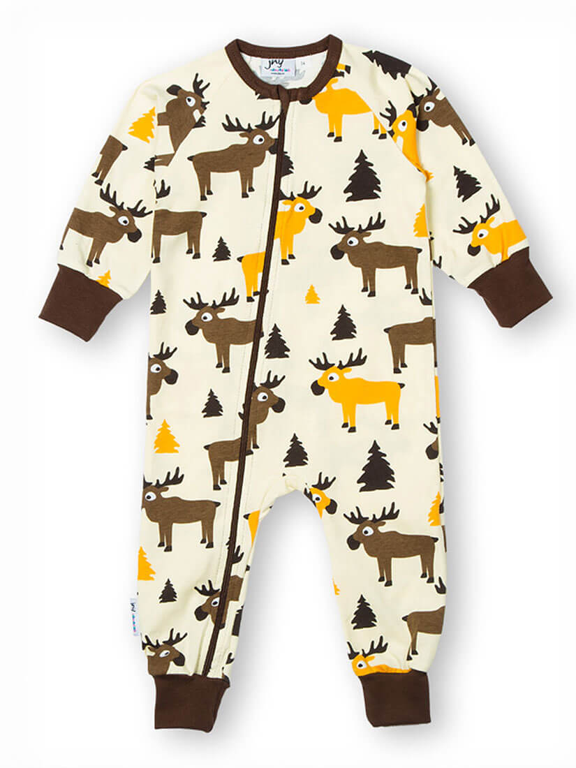 jny colourful kids baby jungen overall strampler moose in creme zaubermode zauberhafte. Black Bedroom Furniture Sets. Home Design Ideas