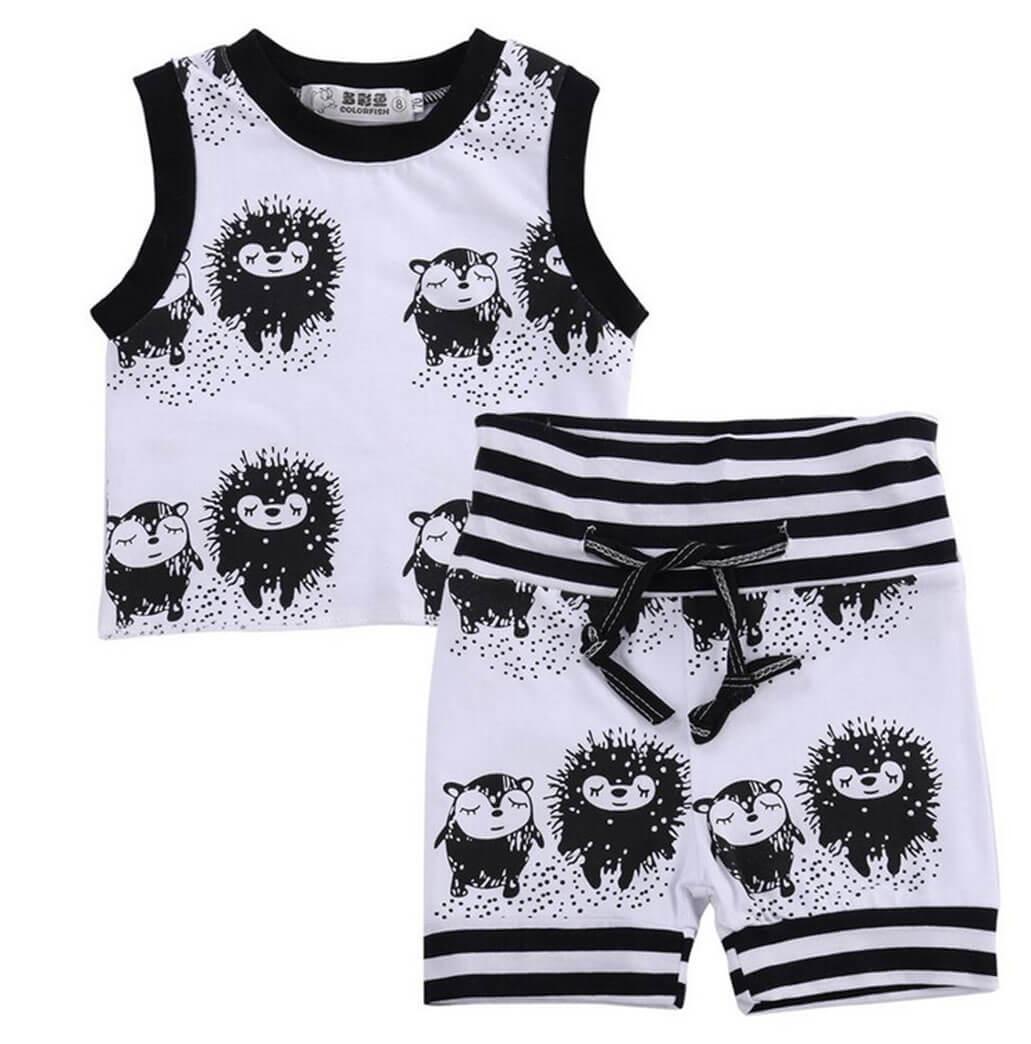 Jungen Baby Set Shirt Und Hose Igel In Schwarz Weiss Zaubermode