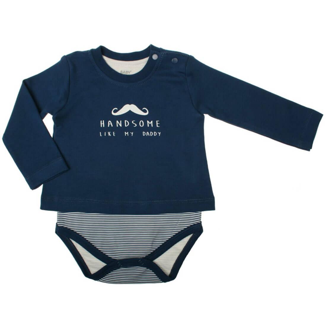 Baby Corner Baby Jungen Body-Shirt Langarm Little Man in blau = Body und Shirt in einem