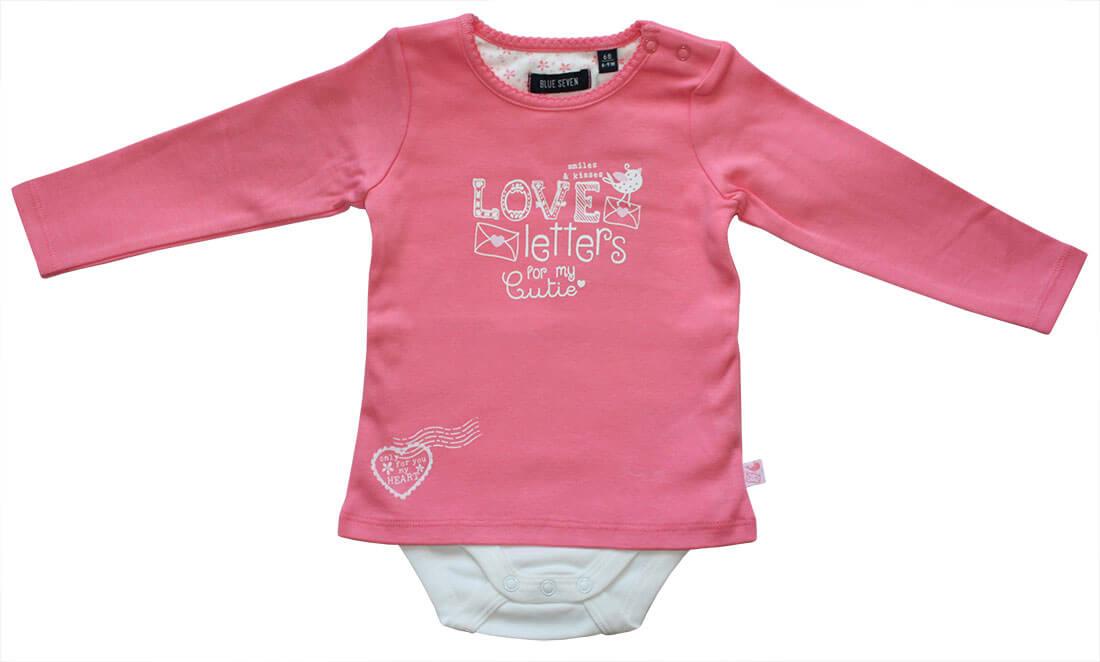 5e04be23939d5d BLUE SEVEN - Baby Mädchen Body-Shirt Langarm LOVE LETTERS in lachs -  Zaubermode