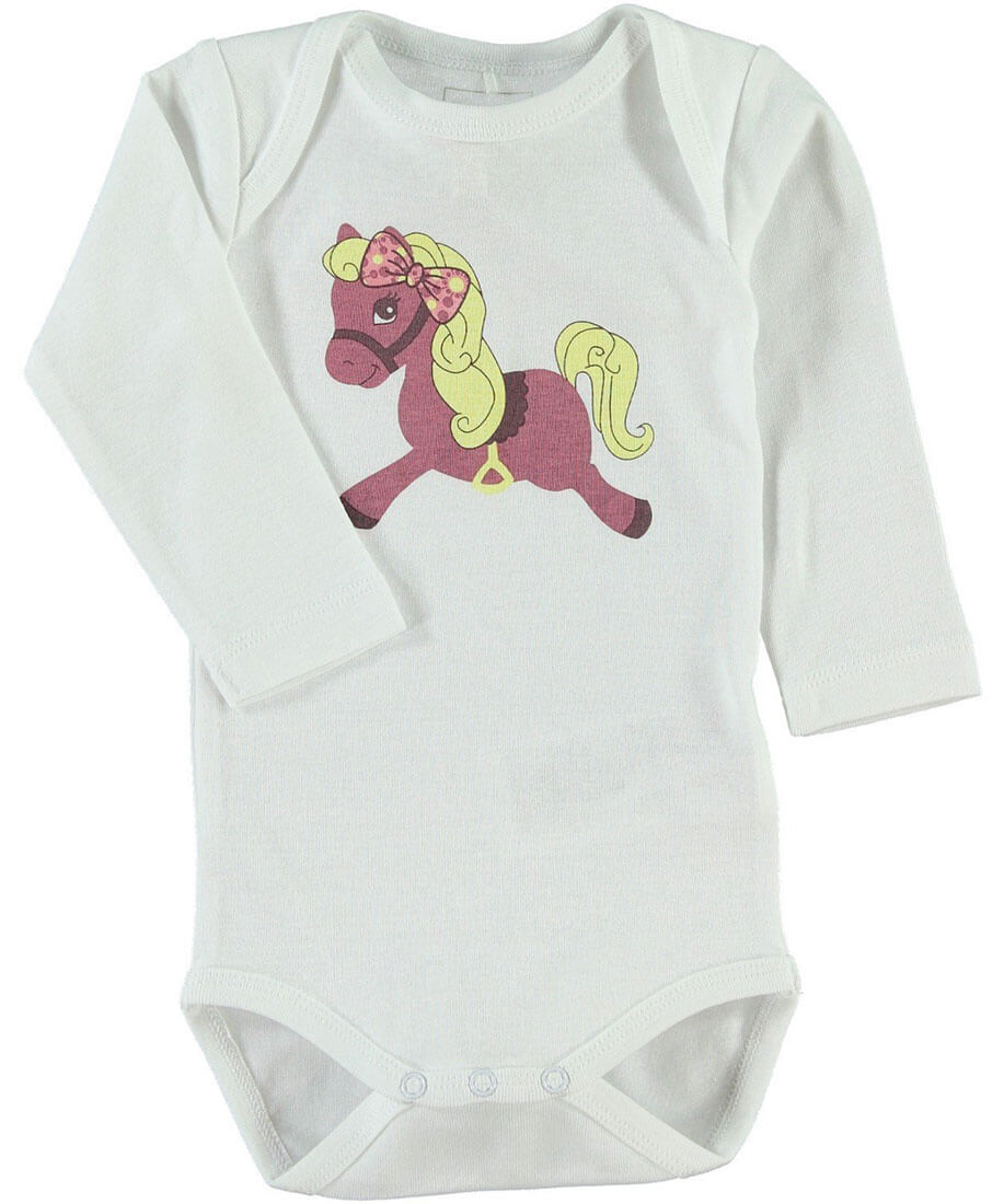 NAME IT - Baby Mädchen Body Langarm HORSE Vise in weiss