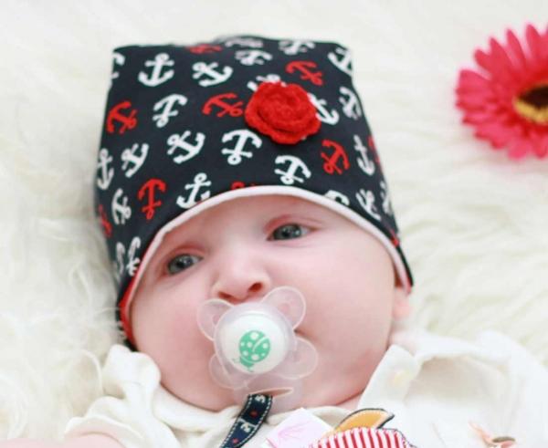 FARBGEWITTER Baby Mädchen Sommer Mütze ELLY Zick-Zack-Muster KU 35 37 39 41 45