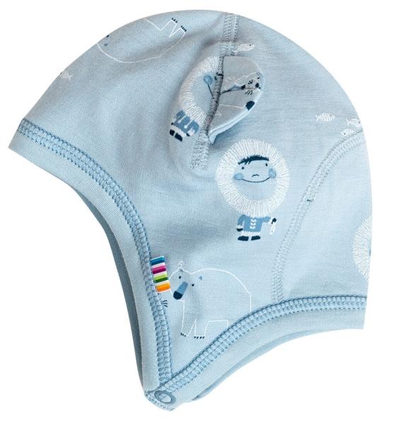 63b143c8fa JOHA Frühchen Baby Jungen Babymütze INUIT aus Merinowolle und Bio-Baumwolle  in blau