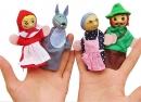 """Fingerpuppen-Set """"Rotkäppchen"""" mit Holzkopf und Stoff 4tlg."""